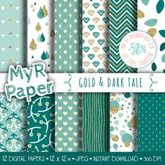 """#Gold #glitter dark teal digital paper: """"GOLD & DARK TALE"""" green and glitter pack of backgrounds with chevron, polka dots, stripes, hearts 50% OFF ON ORDERS OVER 12 $ (OR NE... #patterns #design #graphic #digitalpaper #scrapbooking #gold #sparkling #golden"""