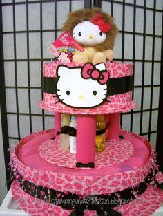 Baby Shower Diapers, Baby Shower Cakes, Baby Shower Themes, Baby Shower Decorations, Baby Shower Gifts, Shower Ideas, Hello Kitty Baby Shower, Hello Kitty Cake, Hello Kitty Birthday