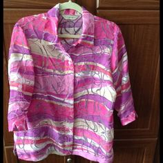 Comfy Big Shirt Beautiful semi-sheer shirt is great over your favorite tank. Allison Daley Tops