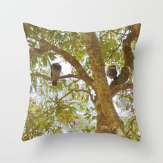 Incense tree with pigeons Throw Pillow