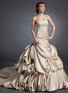 Wedding Dresses - $216.99 - A-Line/Princess Sweetheart Chapel Train Satin Wedding Dress With Ruffle Lace Beadwork (002015110) http://jjshouse.com/A-Line-Princess-Sweetheart-Chapel-Train-Satin-Wedding-Dress-With-Ruffle-Lace-Beadwork-002015110-g15110