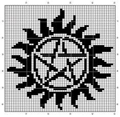 Crochet supernatural anit-possession symbol Beaded Cross Stitch, Crochet Cross, Crochet Chart, Counted Cross Stitch Patterns, Filet Crochet, C2c Crochet, Loom Patterns, Beading Patterns, Supernatural