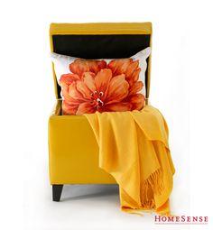 Gorgeous yellow ottoman with extra storage space. #Floral #Pillow #Throw www.HomeSense.ca /  Sublime pouf jaune avec espace de rangement. #floral #coussin #jeté www.HomeSense.ca