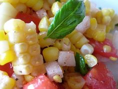 Fresh corn and tomato salad. One of my favorite things to eat in the summertime!