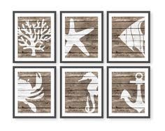 Rustic Nautical Nursery Art Rustic Beach Decor Sea by twowhiteowls Rustic Beach Decor, Nautical Theme Decor, Nautical Art, Nautical Nursery, Nursery Art, Wood Art, Canvas Wall Art, Gallery Wall, Drawings