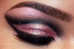 Glitterati Party Eye Makeup by NaturallyErratic.deviantart.com on @deviantART : Shimmery Champagne Pink with a Drastic Charcoal Cut Crease!
