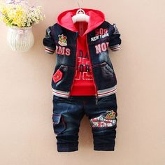 Baby Boy Outfits, Kids Outfits, Communion Hairstyles, Custom Leather Jackets, Baby Suit, Kids Wear, Children Wear, Cotton Sweater, Costume