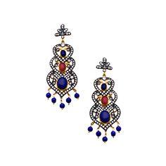 Triple Leaf Earrings MEGHNA JEWELS (13.780 RUB) ❤ liked on Polyvore featuring jewelry, earrings, jeweled earrings, earring jewelry, jewel earrings, chandelier earrings and earrings jewellery