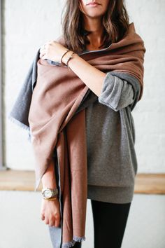 Great ways to wear and tie a scarf.  Get this featured look with an oversized lightweight wool wrap