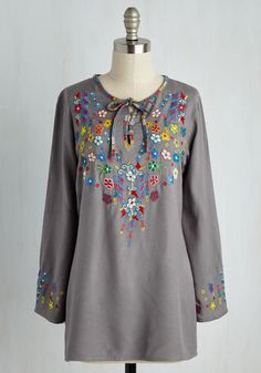 Forever Folksy Tunic. Let your down-to-earth spirit shine through the style of this boho-inspired tunic! #grey #modcloth