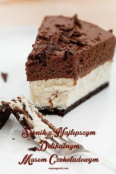 Cheesecake with chocolate mousse Polish Desserts, Polish Recipes, Cookie Desserts, Fudge Recipes, Cheesecake Recipes, Cookie Recipes, Dessert Recipes, Sweets Cake, Cupcake Cakes