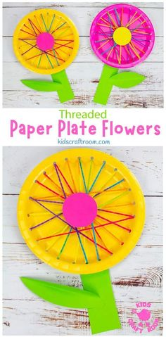 These Threaded Paper Plate Flowers are a lovely spring craft, summer craft or Mother's Day craft. This flower craft is really easy to make, looks so pretty and is a great way to introduce kids to sewing and to build fine motor skills! #kidscraftroom #kidscrafts #flowercrafts #paperplatecrafts #springcrafts #summercrafts #mothersdaycrafts B Paper Plate Crafts, Paper Plates, Pretty Flowers, Colorful Flowers, Mothers Day Crafts, Crafts For Kids, Flower Plates, Colored Paper, How To Make Paper