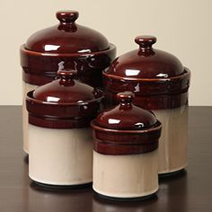@Overstock - Understated canister set adds a rustic touch to your kitchen counter  Nova Brown 4-piece jar set from Sango provides sealed lids  Jars feature a unique mix of reactive glazes to create a soft blend of brownshttp://www.overstock.com/Home-Garden/Sango-Nova-Brown-4-piece-Kitchen-Canister-Set/3519648/product.html?CID=214117 $37.99