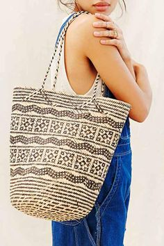 Connected Ajat Rattan Shopper Bag- Beige One