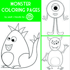 Monster Coloring Pages. Great for Halloween!