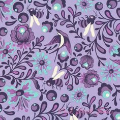 Tula Pink The Birds and the Bees Little Bits Mist - VOILE