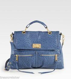 fcf7afd6e1c5 Rebecca Minkoff Lyric Ostrich Embossed Leather Satchel Handbag Michael Kors  Clutch