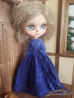Vintage Touch purple hand-dyed dress for Blythe adorned with