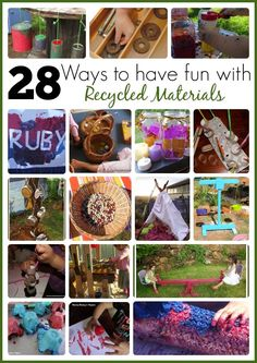 Over 20 ways to use recycled and upcycled materials for play and learning with all ages - See how at Mummy Musings and Mayhem
