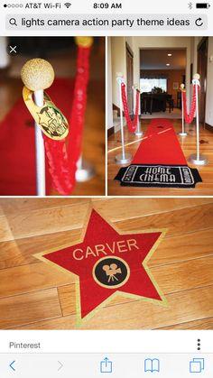 Hollywood Party, Hollywood Thema, Hollywood Birthday Parties, Hollywood Stars, Hollywood Crafts, Hollywood Lights, Hollywood Red Carpet, Deco Theme Cinema, Cinema Party