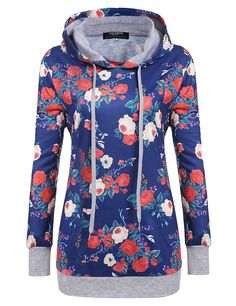 Zeagoo Women's Long Sleeve Floral Printed Pullover Hoodies Sweatshirt with Pockets >>> This is an Amazon Affiliate link. Click on the image for additional details.