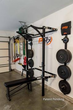 homemade unistrut bench and squat rack w/ pullup bar