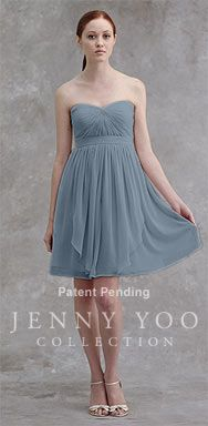 strapless chiffon bridesmaid dress, with extra material that could be used to make straps if we so desire
