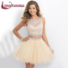 Sexy Two Pieces Homecoming Dresses 2015 Champagne Beaded Sweet 16 Dresses Vestidos Sheer Beach Wedding Party Dress Champagne Homecoming Dresses, 2 Piece Homecoming Dresses, Blush Prom Dress, 2 Piece Prom Dress, Tulle Dress, Champagne Dress, Graduation Dresses, Dama Dresses, Hoco Dresses