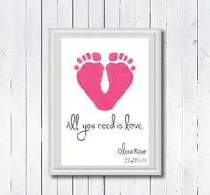 Baby Footprint Art, Baby Footprints, New Baby Gift,