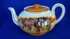 "VINTAGE ROYAL DOULTON ""COACHING DAYS"" TEAPOT WITH CRACK BUT RARE ENGLAND RARE #ROYALDOULTON"