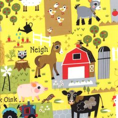 Oink A Doodle Moo Sunshine Barnyard Plots - 30522 19 by Jenn Ski Quilt Fabric- for Moda