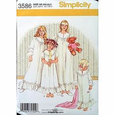 Childs Girls Nightgown Slippers Simplicity 3586 Pattern 2007 Size 2-6X C1170
