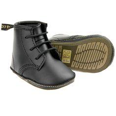 DR MARTENS Baby Boys Auburn Leather Crib Boot , Black * ALL SIZES *