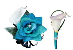 2pc set wrist  corsage and Boutonniere(BCset-42) rose &Calla lily, Jade and black ribbons