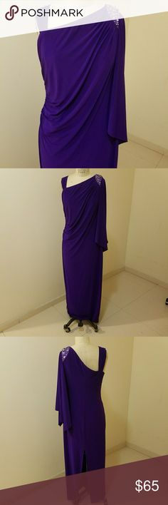 Selling this Draped Grecian style gown purple knit fabric on Poshmark! My username is: fancyballer. #shopmycloset #poshmark #fashion #shopping #style #forsale #Dresses & Skirts