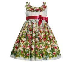 www.mylittlematilda.com.do  Ref. 0739 Vestido Blanco de Flores Verdes y Lazo Fuschia Tamaños 2T, 3T, 4T, 4, 5, 6, 6X años RD$1,895