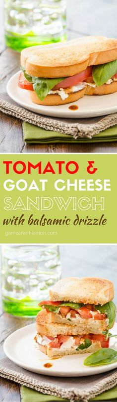 Grab summer's juiciest tomatoes for this simple but tasty Tomato and Goat Cheese Sandwich with Balsamic Drizzle!