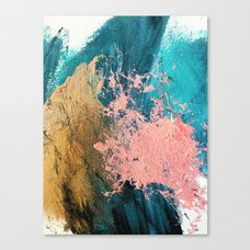 Coral Reef [1]: colorful abstract in blue, teal, gold, and pink Canvas Print