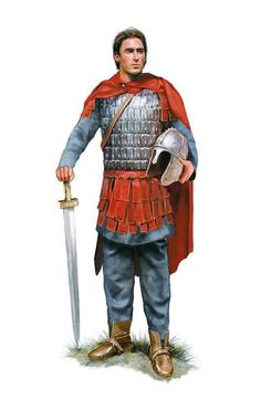 Roman cavalry officer, 4th century AD. Artwork by Tom Croft.