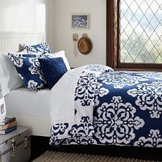 Shop ikat medallion duvet cover sham from Pottery Barn Teen. Our teen furniture, decor and accessories collections feature fun and stylish ikat medallion duvet cover sham. Create a unique and cool teen or dorm room. Navy Bedding, Dorm Room Bedding, Blue Duvet, Dorm Rooms, Bedding Sets, Navy Blue Comforter Sets, Floral Bedding, Duvet Bedding, Bedroom Designs