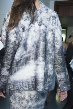 Mary Katrantzou used crystal mesh which was then overlaid with felt and then printed #LFW #Swarovskicollective