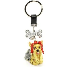 Yorkshire Terrier Red Bow Little Dog Keychain Handmade 00003 Clay Sculpted Gift