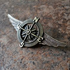 Brass Victoriana steampunk airship captain lapel pin (phew!) -- EnchantedLockets on Etsy