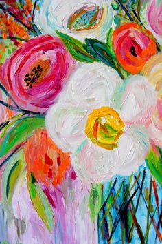 BRAND NEW WORK! Large abstract colorful blooms abound in this latest still life by Carolyn Shultz. This piece is done largely with palette knife resulting in lots of texture with lovely pops of color throughout the piece. JESS is a DIPTYCH featuring two l