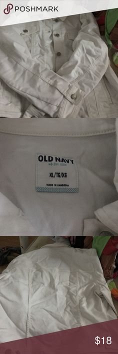 White jean jacket Great condition white Jean jacket never worn. Old Navy Jackets & Coats Jean Jackets