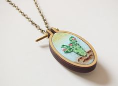 Cactus necklace cacti modern necklace Embroidery by buligaia