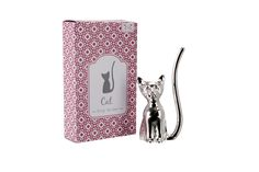 Silver Cat With Crystal Eyes Ring Holder - CGBKW87