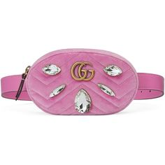 Gucci Gg Marmont Velvet Belt Bag ($1,290) ❤ liked on Polyvore featuring bags, handbags, pink, purple purse, cross-body handbag, waist fanny pack, pink handbags and crossbody purse