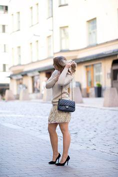 beige sweater & sequins
