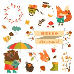 Cartoon characters, autumn elements by masastarus on @creativemarket https://crmrkt.com/7QBwr